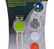 JEF World of Golf JR153 Metal Divot Golf Tool and Cap Clip with 3 Ball Markers