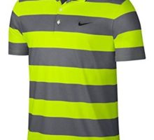 Nike Men Golf Victory Bold Stripe Polo  Large  Volt Black