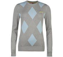 Slazenger Women Argyle Golf Jumper Sweater Pullover Winter Crew Neck Long Sleeve Grey Blue 18