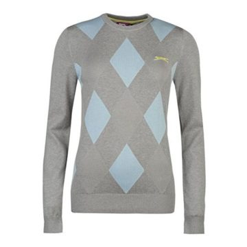 Slazenger Women Argyle Golf Jumper Sweater Pullover Winter Crew Neck Long Sleeve Grey Blue 18