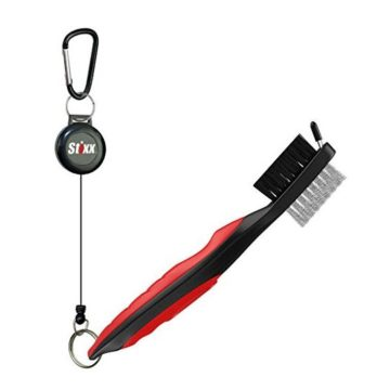 STIXX Golf Brush and Groove Cleaner with Retractable Clip Extends 2 Ft  Brass Nylon and Spike Cleaning Tool