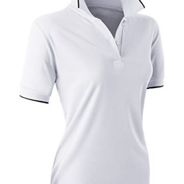 CLOVERY Quick Drying Active Wear Short Sleeve 2Button POLO Shirt White Medium