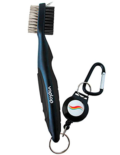 Voplop Golf Brush and Club Groove Cleaner  Easily Attaches to Golf Bag  Deep Clean Iron Grooves  Cleaning Club Face  Bag Clip & Retractable Extension Cord & Perfect Gift