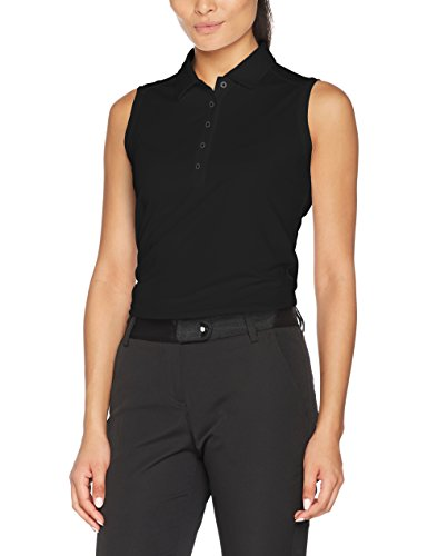 NIKE Golf Women Victory Solid Sleeveless Polo Black White MD