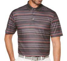 PGA TOUR Men Short Sleeve Energy Airflux Printed Striped Polo Asphalt XXL