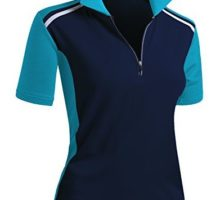 CLOVERY Breathable Functional Coolmax Fabric Short Sleeve Zipup POLO Shirt Navyaqua L