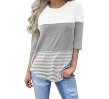 ZOMUSAR Clearance Sale Women Casual Loose Striped Patchwork Lace ONeck Three Quarter Sleeve Shirts Blouse