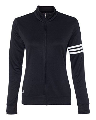 adidas Womens climalite 3Stripes Pullover A191 BLACK  WHITE M