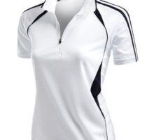 Coolmax 2 Tone Collar Zipup Polo TShirt White Size XXXL