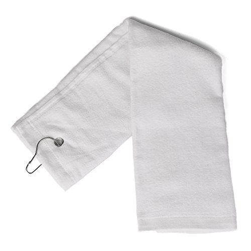 Flammi TriFold Golf Towel with Metal Clip Cotton TerryCloth Hang on Golf Bag 16 x 25 inches