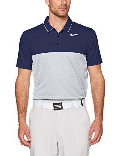 NIKE Men Icon Heather Polo College Navy Wolf Grey Flat Silver Medium