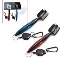 Xintan Tiger Pack of 2 Golf Club Brush Groove Cleaner with Retractable Zipline and Aluminum Carabiner Cleaning Tools