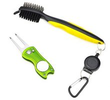 All Metal Foldable Golf Divot Tool with Magnetic Ball Marker & Club Groove Cleaner with Brush and Retractable Extension Cord Combo Set
