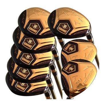 Japan WaZaki 14k Gold Finish Cyclone 4SW Mx Steel Hybrid Irons Golf Club Set + Headcover