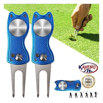 KAVENO Foldable Magnetic Golf Divot Repair Tool Popup Button Stainless Steel Switchblade & Detachable Golf Ball Marker