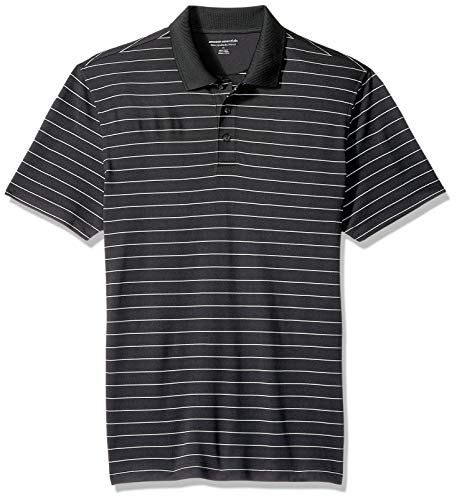 Amazon Essentials Men SlimFit QuickDry Golf Polo Shirt Black Stripe Medium