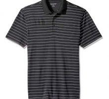 Amazon Essentials Men SlimFit QuickDry Golf Polo Shirt Black Stripe Medium