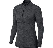 NIKE Women Dry Half Zip Golf Shirt Black Black Small