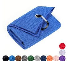 Mile High Life Trifold Golf Towel | Premium Microfiber Fabric | Waffle Pattern | Heavy Duty Carabiner Clip