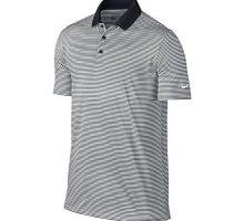 NIKE Men Dry Victory Stripe Polo Black White Large