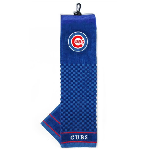 Team Golf MLB Chicago Cubs Embroidered Golf Towel Checkered Scrubber Design Embroidered Logo