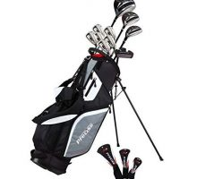 Top Line Men  Right Handed M5 Golf Club Set   Set Includes Driver Wood Hybrid 5 6 7 8 9 PW Stainless Steel Irons with True Temper Steel Shaft Putter Deluxe Stand Bag & 3 Headcovers