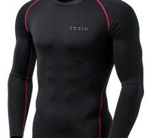 TSLA TMMUD01KKR_Medium Men Long Sleeve TShirt Baselayer Cool Dry Compression Top MUD01