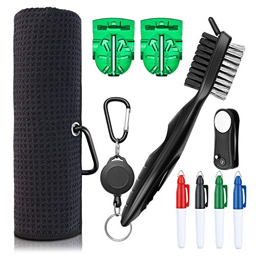 XAegis GT13 Golf Towel and Brush to Clean Golf Club with Magnet Divot ToolGolf Ball LinersSharpie pens  9 in 1 Golf AccessoriesBlack