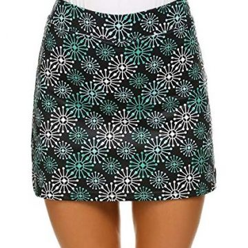 Ekouaer Women Active Performance Athletic Skorts Sport Clothing Golf Skirts with Safe Short XXL Green Flower