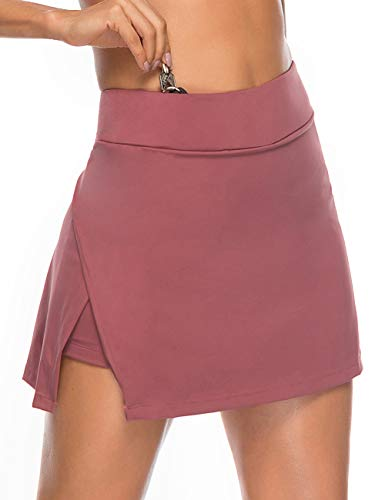 FeelinGirl Women Active Athletic Skort Lightweight Skirt with Pockets for Running Tennis Golf Workout Red Size S