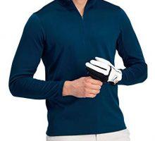 Golf Half Zip Pullover Men  Fleece Sweater Jacket  Mens Dry Fit Golf Shirts Navy Blue