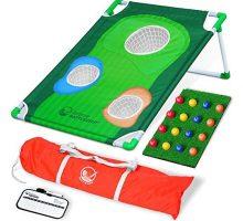 GoSports BattleChip Backyard Golf Cornhole Game Includes Chipping Target 16 Foam Balls Hitting Mat and Carrying Case