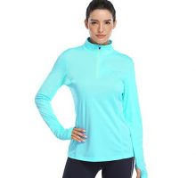 HISKYWIN Womens UPF 50+ Sun Protection Tops Long Sleeve HalfZip Thumb Hole Outdoor Performance Workout Shirt HF806 Light Green S