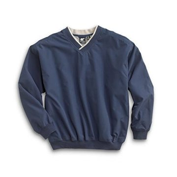 Men Fully Lined VNeck Golf and Wind Shirt  Navy Putty Large