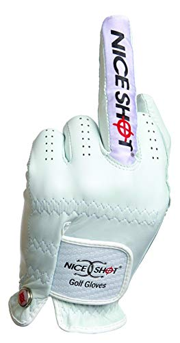 Nice Shot The Bird Cabretta Leather Golf Glove Men Left Hand White Medium M