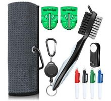 XAegis GT13 Golf Towel and Brush to Clean Golf Club with Magnet Divot ToolGolf Ball LinersSharpie pens  9 in 1 Golf AccessoriesGrey
