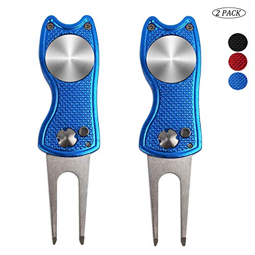 Amy Sport Golf Divot Repair Tools and Ball Marker Magnetic Black Blue Red Fish Value 2 Pack Switchblade Popup Button Stainless Steel Divot Tools Portable for Men Women