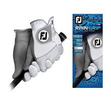 FootJoy Men RainGrip Pair Golf Glove White Cadet Medium Pair