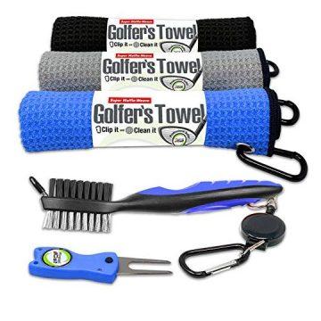 Fireball Golf 5Piece Deluxe Golf Towel Gift Accessories Set in Blue